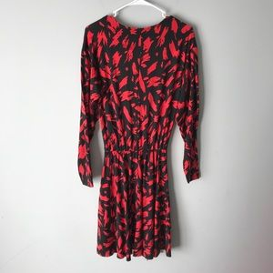 Zara Dresses - Zara black red brush strokes knit ruffle dress S